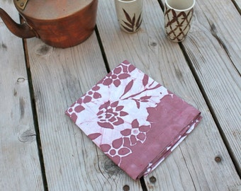 batik linen tea towel mauve flowers