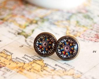 vintage compass framed post earrings- antique brass- steampunk- wanderlust- version 3
