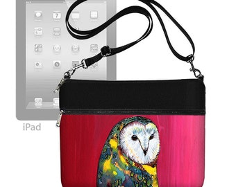 Clara Nilles Owl  ipad case, ipad air 2 case, ipad air case, Crossbody Bag, Shoulder Bag Purse, zipper pocket,  red blue RTS