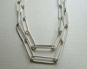 Long Silver Chain Handmade Necklace