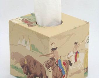 Native American Indian Buffalo Hunt on Horseback 1950s Vintage Wallpapered Tissue Box Cover