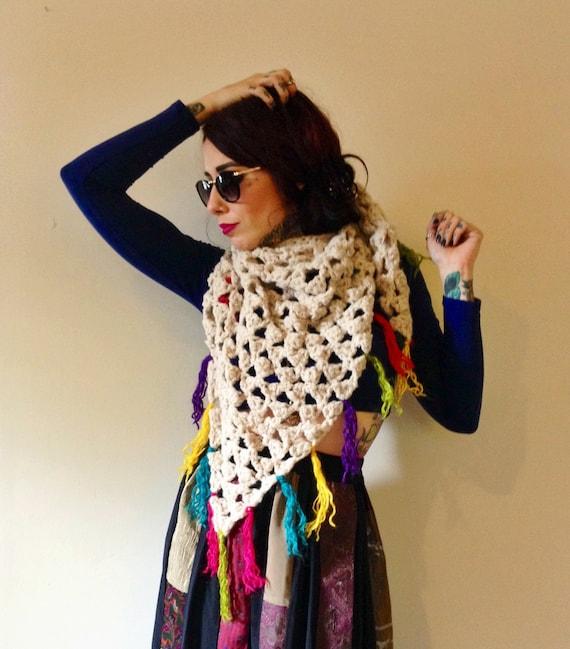 Chunky Knit Scarf with Multicolor Tassels - Oversized Bandana Shawl Wrap Ecofriendly Recycled Yarn - Multi Rainbow Fringe Tan Triangle Scarf