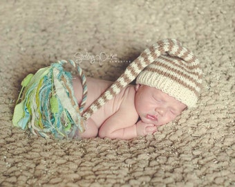 Newborn Baby Knit Hat BaBY PHoTO PRoP Long Stocking Cap BoY GiRL Ivory Taupe STRiPE Green Blue Tassel Toque CoMiNG HoME BeANiE Pick Color