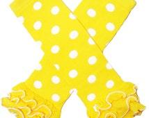 Yellow and White polka dotted Ruffled Leg Warmers