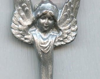 Polymer Faux Silver  Art Nouveau Angel  Ornament SAO 1