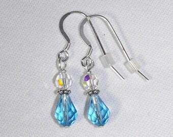 Aqua Swarovski Teardrop Earrings & Sterling Silver Ear Wires