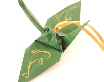 Koi, Japanese Carp Fish, Gold on Forest Green Origami Crane Ornament Home Decor