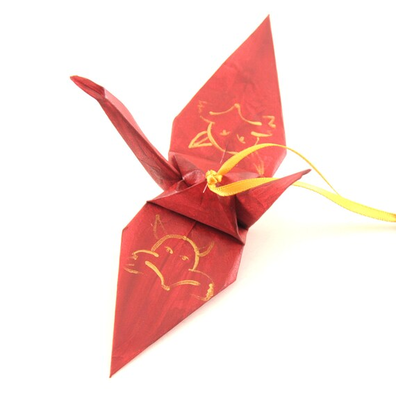 Gold Fox on Burgundy Origami Crane Ornament, Handpainted Home Decor