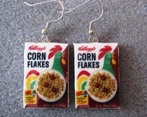 Kellogg's Cornflakes 1970s Cereal Retro Kitsch Dangle Polymer Clay Junk Food Earrings Hypo Allergenic Nickle-Free