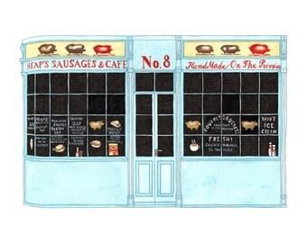 Heap's Sausages, London - Postcard