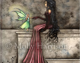 Little Hope Fairy Gothic Fantasy Art - Watercolor Fine Art Print by Molly Harrison