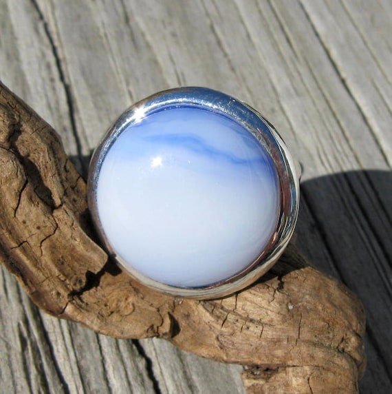 Light Blue and Silver Fused Glass Ring