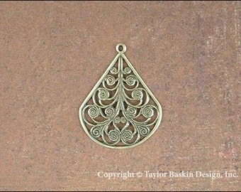 Drop Earring Filigree Component in Antiqued Polished Brass (item 111 w/Loop AG) - 6 pieces