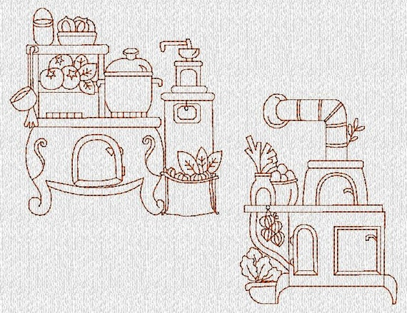 Items Similar To INSTANT DOWNLOAD Vintage Kitchen Stoves Redwork Machine Embroidery Designs On Etsy