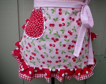 Aprons - Apron with Cherry Fabric - Sweet Cherry Aprons - Handmade Aprons - Annies Attic Aprons - Annies Attic Aprons