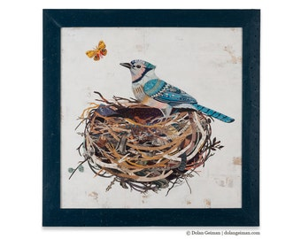 Blue Jay Collage Birds Nest Folk Art