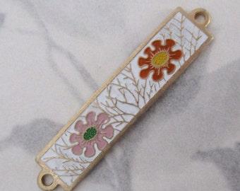 3 pcs. gold tone cold enamel floral connector charm 35x8mm - f4047