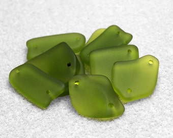 Double Hole Freeform Olive Sea Glass Pendants