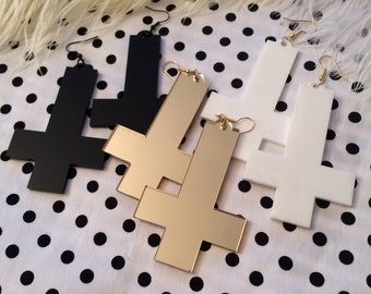 Black, White, or Gold Acrylic Inverted Cross Earrings