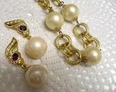 Vintage Estate Chain Link & Faux Pearl Necklace Amethyst Rhinetone Pearl Dangle PIERCED Earrings