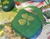 ShamROCK hand painted clover shamrock stone  Free shipping