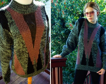 GEOMETRIC 1980's Vintage Men's Olive Green and Eggplant Sweater with Leather Trim size Medium // by Pacific Coast