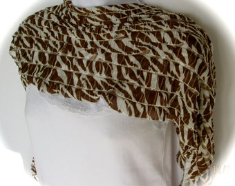 Women's fabric shawl, silky shawl, ruffled shawl, pashmina, summer shawl, animal print shawl, lightweight wrap, stole in brown and white