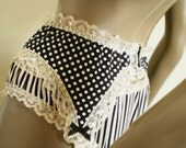 Black And White Polka Dot Garter Belt Handmade Cotton Suspender Belt Retro Style With Black Bows MADE TO ORDER