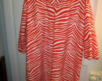Vintage 70s 80s Designer Mod Red White Zebra  Striped Lounge Caftan Dress Adrienne Vittadini Italy XS S M L XL 1X 2X