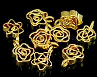 KG-012 thai karen hill tribes silver 4 gold vermeil flower charm