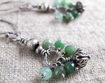 Long Silver Flower Bud Dangle Earrings with Green Chrysoprase
