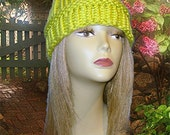 Knit Hat, Toboggan, Adult Beanie, One Size Fits Most, Bulky Lime