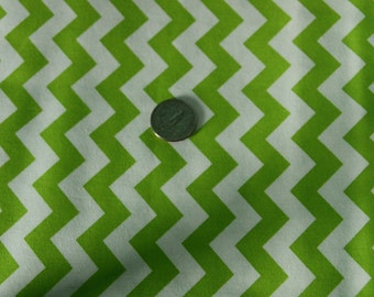 Marshall Dry Goods Fabric - One Yard - Lime Green and White Chevron