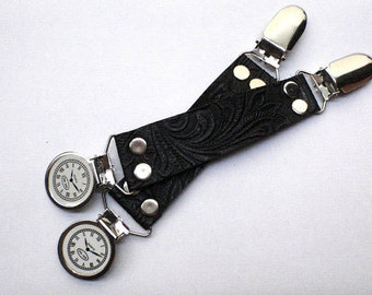 Black Embossed Leather Chrome Steampunk Bustle Skirt Clip Clockwork Clock Clips by Darkwear Clothing