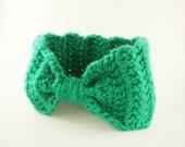 Crochet Headband Bow Style in Emerald Green - Winter Earwarmer Headband for baby girl, child, or woman