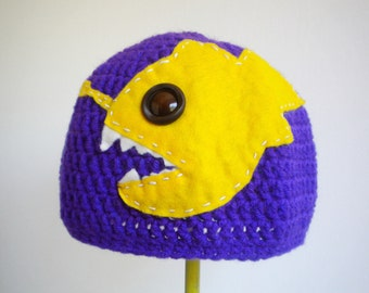 Crochet Angler Fish Hat in Purple with Upcycled Yellow Felt - Awesome hat for men or women, girls or boys
