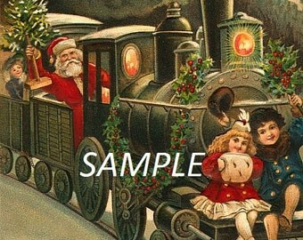Digital Vintage Santas Train Ride Image Download JPEG