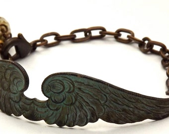 Verdigris Patina Brass Double Wing Bracelet