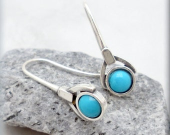Sleeping Beauty Turquoise Earrings, Everyday Gemstone Earrings, Natural Stone, Turquoise Blue, December Birthstone,  Sterling Silver (SE979)