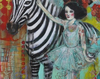 "Ephemera And The Zebra 5""x7"" Fine Art Reproduction  by Maria Pace-Wynters"