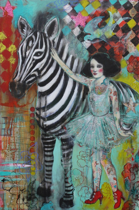 """Ephemera And The Zebra 5""""x7"""" Fine Art Reproduction  by Maria Pace-Wynters"""