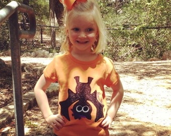 Sparkle Bat Personalized Halloween Appliqued Tee