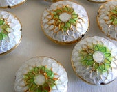 SALE 4 6x16mm Handmade Cloisonne Beads Gold Plated Brass Chrysanthemum Mint Green White b2845