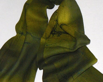 Olive Handmade 100% Wool Scarf  Batik  Warm and Soft
