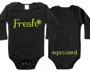 Funny Baby Clothes, Hipster Baby Clothes, Baby Shower Gifts, Baby Clothes, New Baby Gift, Fresh Squeezed Organic Baby Long Sleeves Onesie