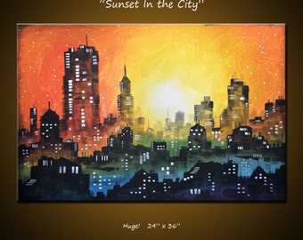 Abstract Art Painting Cityscape Original Large Modern Contemporary ... 24 x 36 .. Sunset In the City, by Amy Giacomelli