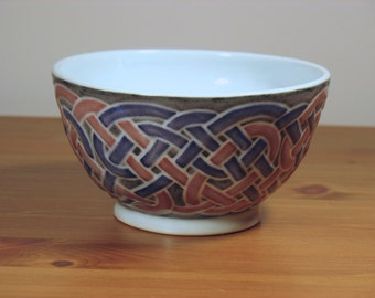 Red and Blue Multi-Colored Celtic Knotwork Bowl