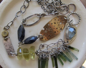 Silver Charm NECKLACE Mixed Metals Gemstone beach Ocean inspired sea summer SEAWEED Necklace