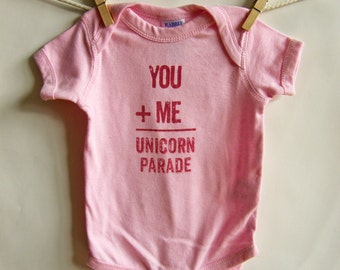 Unicorn Parade Infant Onesie, Short Sleeved Cotton, Gift for Baby, Baby Body Suit, Romper, Screen Printed-Pink- NB- 12Mo.
