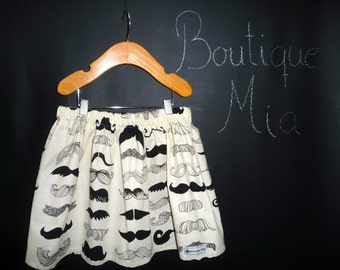 BUY 2 get 1 FREE - Skirt - Alexander Henry - Mustache - Pick the size Newborn up to 14 Years by Boutique Mia